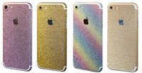 Wholesale Cell Phone Bling Stickers - For iPhone 7 7 plus Matte Frosted Glitter Diamond Full Body Skin Sticker Front Back Sides Bling Skin Protector Cell Phone Skins Sticker 325