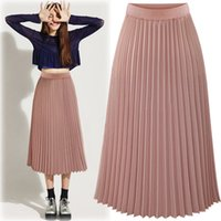 Wholesale 2017 Sale Xl S L M Pure Color White Pink Black A line In The Spring of New High Waisted Couture Long Female Thin Chiffon Pleated Skirt