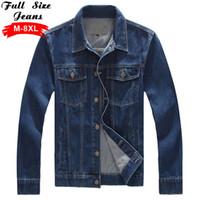 Wholesale Western Coats Plus Size - Wholesale- Aztec Mens Plus Size Denim Jacket Tough Heavy Duty Classic Western Style Casual Jeans Coat 4XL 5XL 6XL 8XL