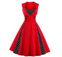 Vintage Retro Women Dress Sleeveless Polka Dot 2017 Summer Party Evening Vestido Elegant Ladies Red A Line Plus Размер 5XL