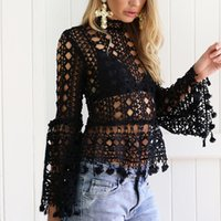 Wholesale Bare Midriff - Saida De Praia Butterfly Sleeve Top High Neck Lace Shirt Hollow Bare Midriff Falbala Blouse Beach Cover Up Perspective Sundress