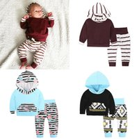 Wholesale Boys Stripe Hoodie - Baby Boys Girls Clothing Sets Hoodies + Pants Autumn Infant Toddler Outfits Stripe Flower Geometric Pattern Sweatshirts