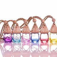 leere essenzflaschen groihandel-6 ml Gemischte farbe Auto hängen dekoration glas essenz öl Parfüm flasche Hängen seil leere flasche