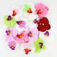 Wholesale green orchids wholesale - Wholesale-Mixed color Simulation butterfly orchid Flowers Silk Decoration Artificial Flowers Head 50pieces lot