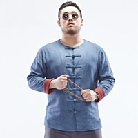 Wholesale Chinese Plus Size Costumes - Wholesale- Plus size Chinese style frog button 2016 men's costume China wind linen shirts men loose cotton shirts increased size 6XL w1123