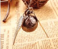 Wholesale Round Clock Necklace - New Fashion Vintage Bronze Punk Steampunk Quartz Pocket Watch Harry potter Pendant Chain Necklace Clock 10pcs lot cheap