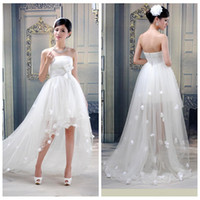 Wholesale Empire Waist Tulle Strapless Dress - Strapless High Low Simple Wedding Dresses Floral Adorned Bridal Gowns Hi-Lo Custom With Bow Waist A-Line Plus Size 2017 Summer