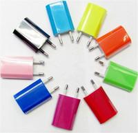 yassı fiş adaptörü toptan satış-USB ABD, AB Tak 1A Düz Duvar Şarj AC Güç Küp Adaptörü Ev Seyahat Şarj Şarj ABD İNGILTERE Tak Iphone 6 6 s 7 Artı 5 S SE