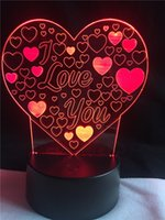 Wholesale Heart Shape LED Night Light I Love You Romantic Atmosphere Lamp Home Decor Nightlight Lovers Gift