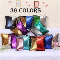 Wholesale Wholesale Home Pillows - Sequin Pillow Case Reversible Sequin Mermaid Glitter Sofa Cushion Cover Pillow Case Double Color Pillowslip Case cover 40*40cm YYA597