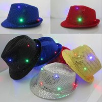 Wholesale Lighted Wholesale Fedora - LED Jazz Hats Flashing Light Up Led Fedora Trilby Sequins Caps Fancy Dress Dance Party Hats men Christmas Festival Carnival Costumes F201783