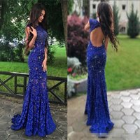 casquillo importante al por mayor-2017 Royal Blue Lace Mermaid Dress Prom Dresses Con Manga Casquillo Major BeadingJewel Backless Party Dress Sweep Train Sexy Party Vestidos de noche