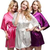 Wholesale White Wedding Night Lingerie - Wholesale- 2017 Plus Size Short Bride Bridesmaids Robe Sexy Lingerie Women's Wedding Party Kimono Robes Night Dress Woman Sleepwear Pajamas