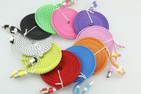 Wholesale Iphone 4s 2m Cable - Wholesale 1M 2M 3M Colorful Noodle Flat Fabric Braided USB Sync Charger Cable Cord For iPhone 4 4S iPad 2 3 300pcs lot