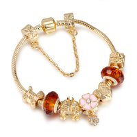 Wholesale Crystal Flower Bangle Bracelets Wholesale - Antique 925 Silver Charm Bracelet & Bangle with Heart and Flower Crystal Beads Women Wedding Valentine's Day Gift AA126