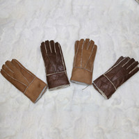 Wholesale Genuine Leather Gloves Wholesale - Wholesale- Women Genuine Leather Gloves Warm Winter Mittens Hot Sale Thick Free Shipping Winter Gloves Adult Real Leather Female