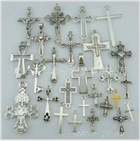 Wholesale Connector Jewellery - 50pcs lot Mix Antique Silver Cross Connector Charms Pendants Alloy Religious Jewellery Accessories for Jewelry Making