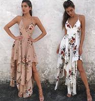 kapalı beyaz bohem elbiseler toptan satış-Yaz Plaj Kadınlar Bohemian Uzun Beyaz Haki Baskı Çiçek Maxi Kayma Elbise Kapalı Omuz Halter V Boyun Çapraz Spagetti Kayışı Elbise DY170731