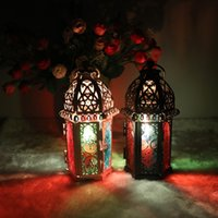 Wholesale Glass Candlestick Iron - Classic Moroccan Style Candle Holder 8.3*7.2*16.5CM Votive Iron Glass Candlestick Candle Lantern Home Wedding Decoration