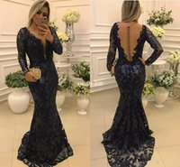 Wholesale Dresse Bride - Elegant Navy Blue Mermaid Mother of the Bride Dresses See Through Lace Appliques Evening Dresse with Long Sleeves Formal Gown robe de soiree