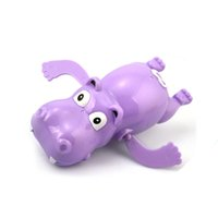 Wholesale- Hippo Swim Toys Baby Educational Clockwork Dabbling Toys Hippopotamus Behemoth Wind Up Plastique Enfant Kids River Horse Bath Toy