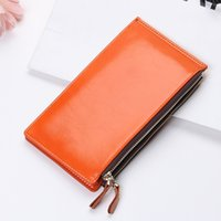 Sachets En Couleur Unie Pas Cher-YOUYOU MOUSE Casual Style Womens Wallet Multi-Card Bit Hasp Zipper Long Section Solid Color Ladies Purse Porte-cartes en cuir PU