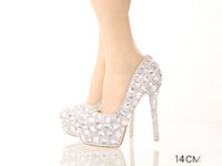 Wholesale High Heels Night Club - Silver Women Pumps Rhinestones Bridal Bridesmaid Wedding Shoes Sexy Prom Evening Night Club Party Heels 0 5 7 8 9 10 12 14CM 043
