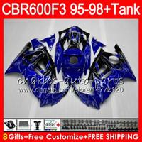 Wholesale 97 Cbr Fairings - 8 Gifts 23 Colors For HONDA CBR600F3 95 96 97 98 CBR600RR FS 2HM6 silver flames CBR600 F3 600F3 CBR 600 F3 1995 1996 1997 1998 blue Fairing