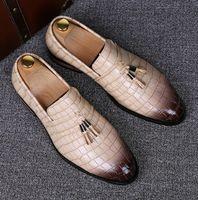 Wholesale Casual Tassel Loafers Men - England designer brand casual wedding party dress alligator genuine leather shoes slip on flats shoe oxfords tassel loafers male