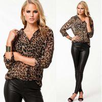 Wholesale Leopard Model - Winter Wild Leopard Chiffon Women Casual Shirts Models Blouse Shirt Female Chiffon Blouse Top Quality