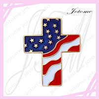 Wholesale Black Cross Lapel Pin - 100PCS Lot 2017 Hot Sale Patriotic Cross United States of America American Flag Lapel Hat Jacket Pin For Patriotism