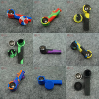 Wholesale Food Grade Silicone Black - Free Shipping Wholesale Food Grade Silicone Dry Herb Mini Smoking Pipe Travelling One Hitter Pipe Pocket Hand Pipe