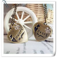 Wholesale Heart Shaped Watch Necklace - Vintage bronze Quartz Heart Shaped Pocket Watch Necklace Pendant Chain Clock Women's Gift Student's Gift Children's Gift