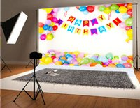 Wholesale balloon photography backdrops resale online - 7x5ft x150cm Happy Birthday Photography Backdrops Colorful Balloons White Background for Baby Backdrop