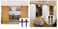 Wholesale Rustic Black Sliding Barn Door Hardware Modern Double Barn Wood Door Hanging Track Kit hardware fittings