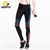 Wholesale Thin Striped Leggings - Wholesale- GERTU 2016 Compress Sporting Leggings Men Women Fitness Workout Pants Summer Thin Strip Fitness Sporting Women Leggings S-XL