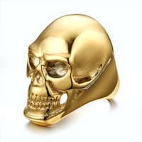 Beichong Skull Rock Rings Wholesale Fashion Big Gold / Black Plated Men Ring 316 Anneaux en acier inoxydable pour hommes Bijoux