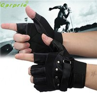Vente en gros - Mode fiable Nouveaux hommes Soft Sheep Leather Driving Motorcycle Biker Fingerless Warm Gloves Ap4 dropshipping