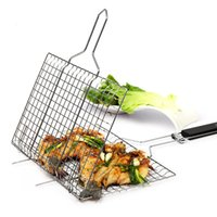Wholesale Grilling Baskets - Wholesale- Outdoor Barbecue Rack Non-stick Stainless Steel Mesh Baskets Clamp BBQ Tool Grill Christmas Party Accessories