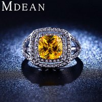 Wholesale Yellow Diamond Engagement Ring Wholesale - White Gold Plated Jewelry inlaid yellow CZ Diamond Rings luxury engagement wedding bague for women bijoux accessories MSR206