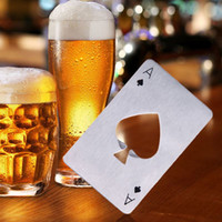 Wholesale Ace Poker - Hot Sale 1pc Stainless Steel Poker Playing Card Ace of Spades Bar Tool Soda Beer Bottle Cap Opener Gift Home Decor Compact