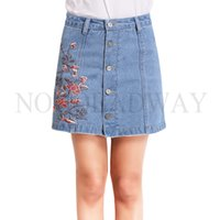 Wholesale womens plus denim skirt - Wholesale- Plus Size High Waist Denim Skirts Womens 2017 Summer Embroidered Short Jeans Skirt Hot Ladies Casual Mini Skirt buttons autumn
