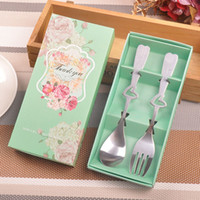 Wholesale heart spoon fork set for sale - Group buy 2 set Stainless Steel Tableware Dinnerware Set Heart Spoon And Fork Wedding Favor Gift Souvenir For Guest ZA3691