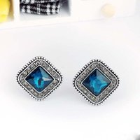 Wholesale Bling Jewellry - Classic Earring Bling Square Shape Crystal Rhinestone Ear Stud Earrings Sapphire Jewelry Chic Design Earing Accessories Jewellry Free DHL