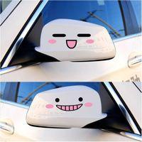 ingrosso nuove decalcomanie auto carine-2016 Nuovo Kawaii 3D Smile Face Decal Sticker Specchietto retrovisore riflettente Cute Cartoon Car Styling