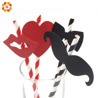 Wholesale Red Sticker Paper - Wholesale-10PCS Black And Red Striped Beard Lips Sticker Paper Straws For Wedding Party Festive Supplies Decoration Paper Drinking Straws
