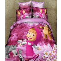 Mais novo 3D 100% Algodão Masha Bear Kids Girls Bedding Sets Queen King Size Crianças Cartoon Quilt Cover Coverpread Bed sheet Sets 4pcs