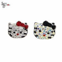 Wholesale Bow Tie Bracelets Wholesale - 10pcs Rhinestone Black Cat Bow Tie Interchangeable Snap Button Charms 18mm Snap Susan Button for Snap Button bracelet Jewelry SB419