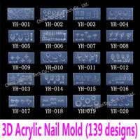 nagelformwerkzeug großhandel-Großhandel-3d Acryl Nagel Vorlage Acryl Nagel Carving Schimmel Nail Art Schablone in 139 Designs Muster Dekoration Soft Silicon Gel Tools