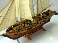 Wholesale Wooden Boat Model Kit - Wholesale- Free shipping Scale 1 100 Classics Antique wooden sail boat model kits HALCON1840 Ship Assembly kit Sailboat Educational Toy